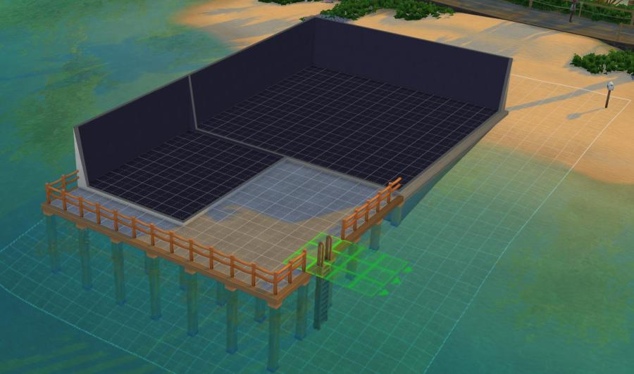 The Sims 4 Island Living: A ladder to help you get into the ocean to swim.
