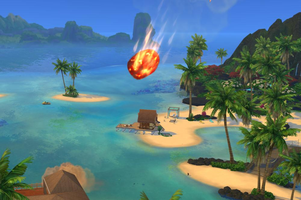 A Volcanic Eruption in The Sims 4 Island Living