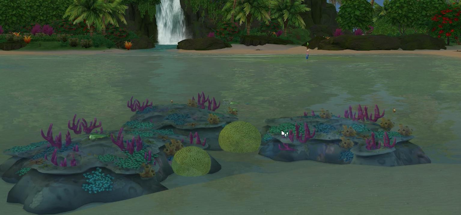 The coral reef recovered in The Sims 4 Island Living Expansion Pack