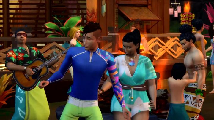 The Sims 4 Island Living - A spontaneous festival gathering of Sims like Polynesians and Hawaiians might do