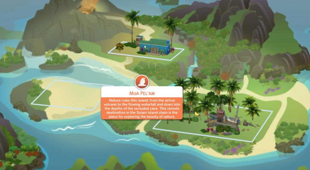 The Sims 4 Island Living - The Island of Mua Pel'am is a nature reserve with a pollution problem. Taking care of the island improves the ecosystem.