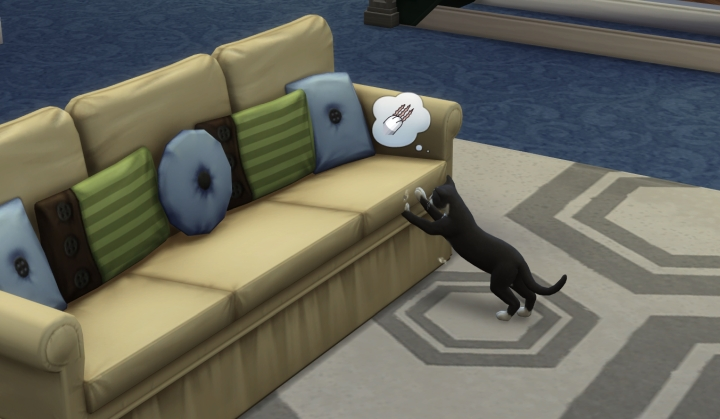 Cats tear up furniture in the Sims 4 Cats and Dogs Pets Expansion