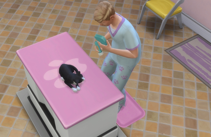 A cat visits the veterinarian in the Sims 4 Cats and Dogs Pets Expansion