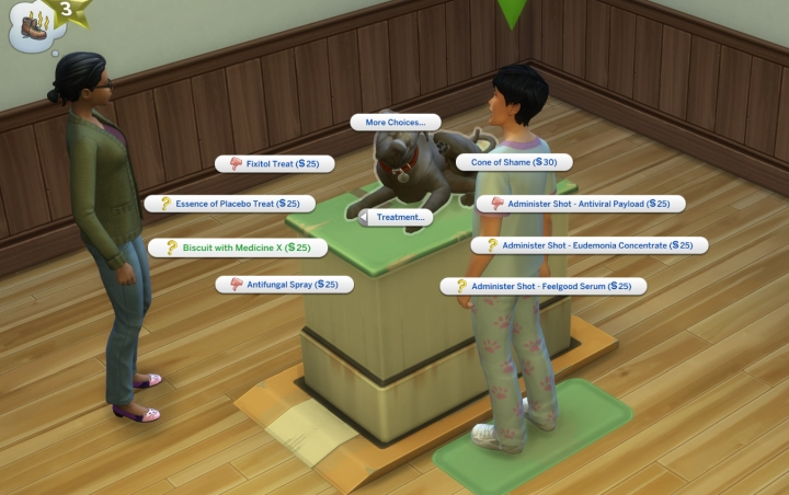 how to treat a pet in the Sims 4