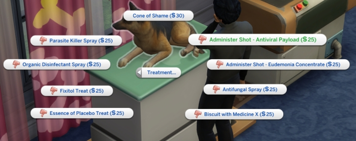 Cures for sicknesses in the Sims 4 Cats and Dogs Pets Expansion