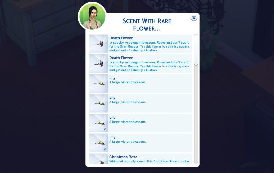 The Sims 4 Seasons - add scents to flower arrangements to give powerful moodlets
