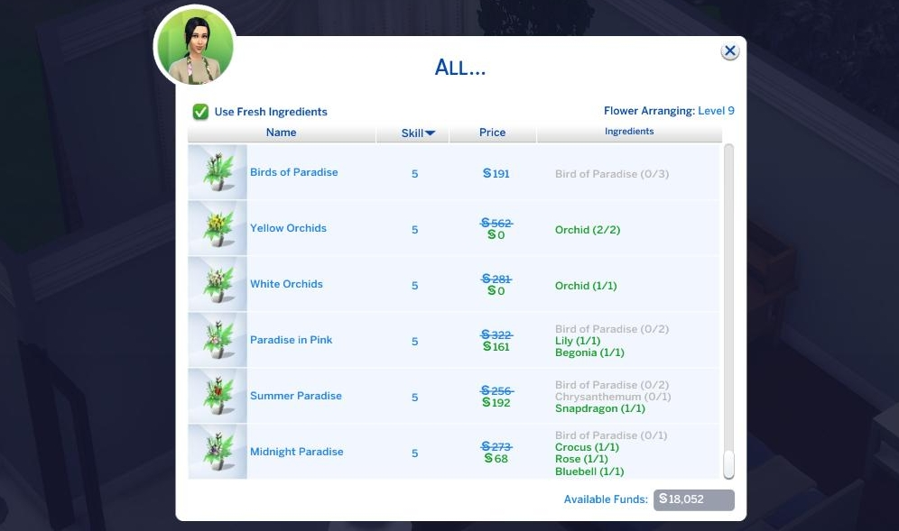 The Sims 4 Seasons flower arrangement can be done with or without fresh ingredients