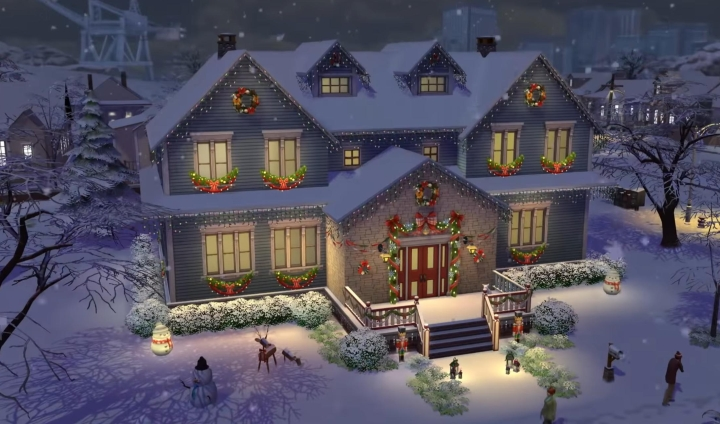 The Sims 4 Seasons: Holiday lights are present in the game for spring, summer, fall, and winter