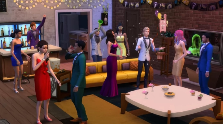 The Sims 4 Seasons: Sims celebrating the New Year