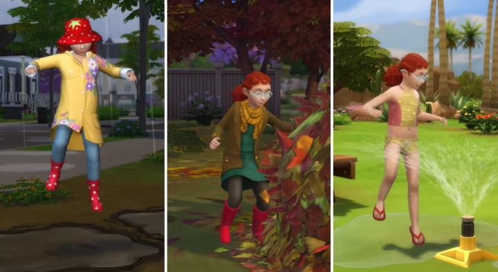 The Sims 4 Seasons: Playing in sprinklers and jumping in leaves and puddles