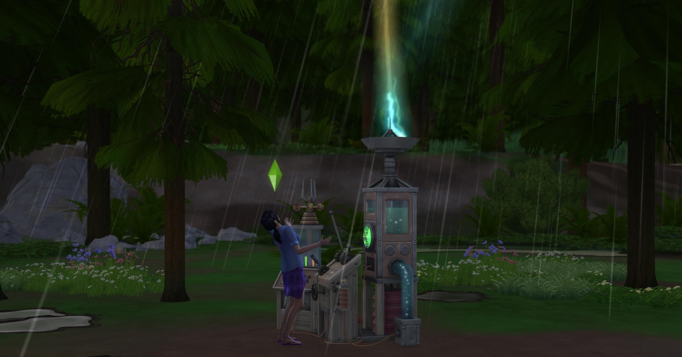 Dr. June's Weather controller machine in The Sims 4 Sesasons Expansion Pack