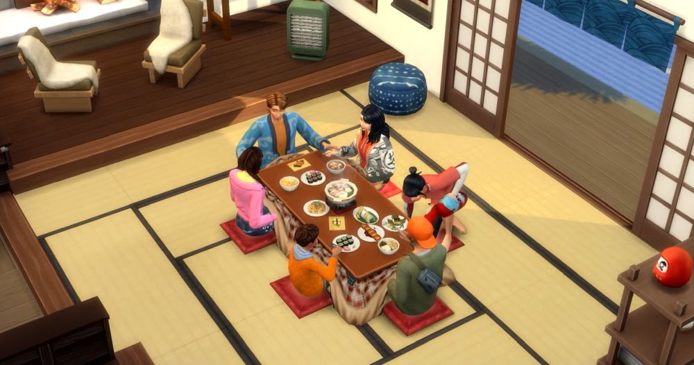 The Sims 4 Snowy Escape Expansion Pack - japanese cuisine and kotatsu table