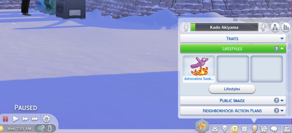 The Lifestyles Menu in The Sims 4 Snowy Escape