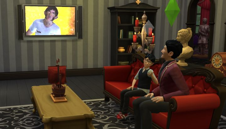 Sims watching TV together in The Sims 4