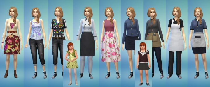 Pictures of New clothing for girls and women in The Sims 4 Dine Out Game Pack