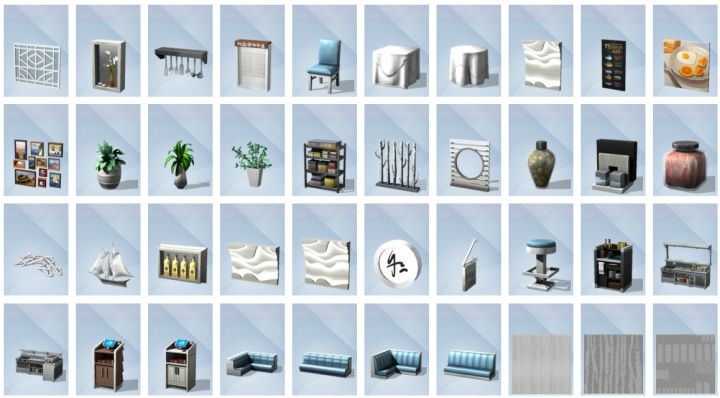 Second batch of build mode objects in The Sims 4 Dine Out Game Pack