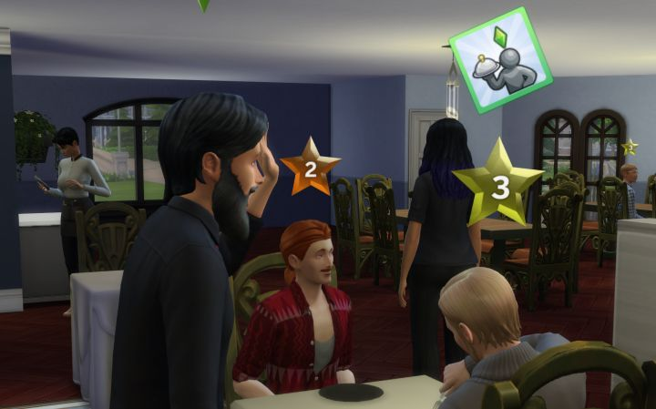 The Sims 4 Dine Out Pack - improve the opinion of your customers by socializing, and boost the rate they come to your restaurant by advertising