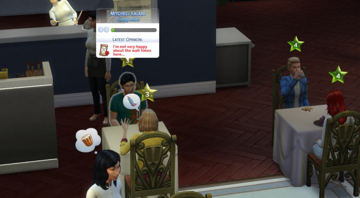 The Sims 4 Dine Out Pack - wait times too long for customers at the restaurant