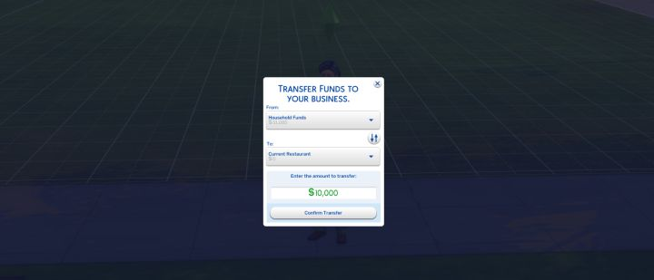 The Sims 4 Dine Out - you must transfer funds to your restaurant to begin construction