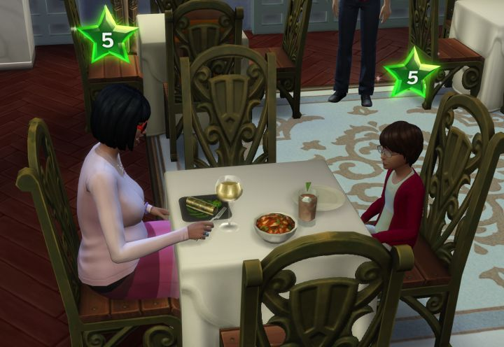 Selecting the Menu and recipe difficulty in The Sims 4 Dine Out Pack