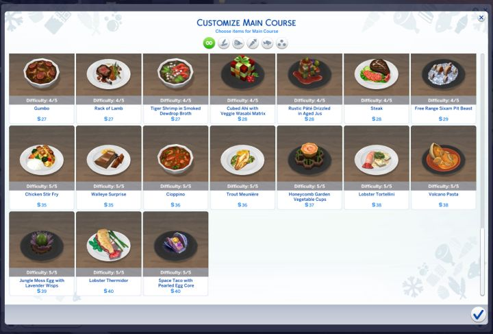 The huge menu in The Sims 4 Dine Out Pack