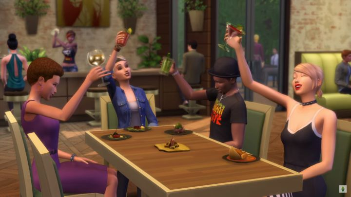 Sims can visit restaurants in groups to share a meal in the Sims 4 Dine Out Game Pack