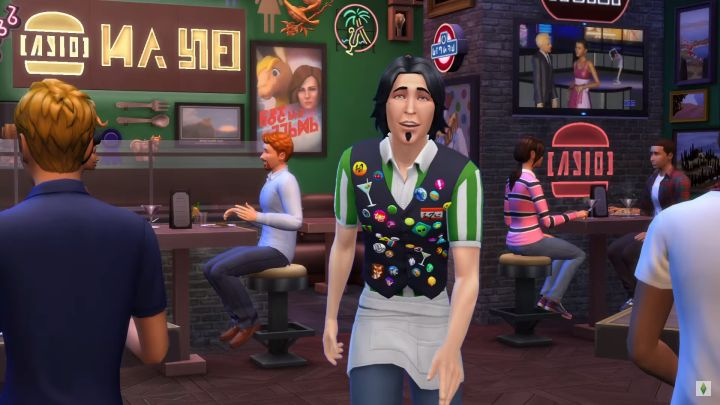 The Sims looks awfully tired, probably from dealing with needy guests at the restaurant