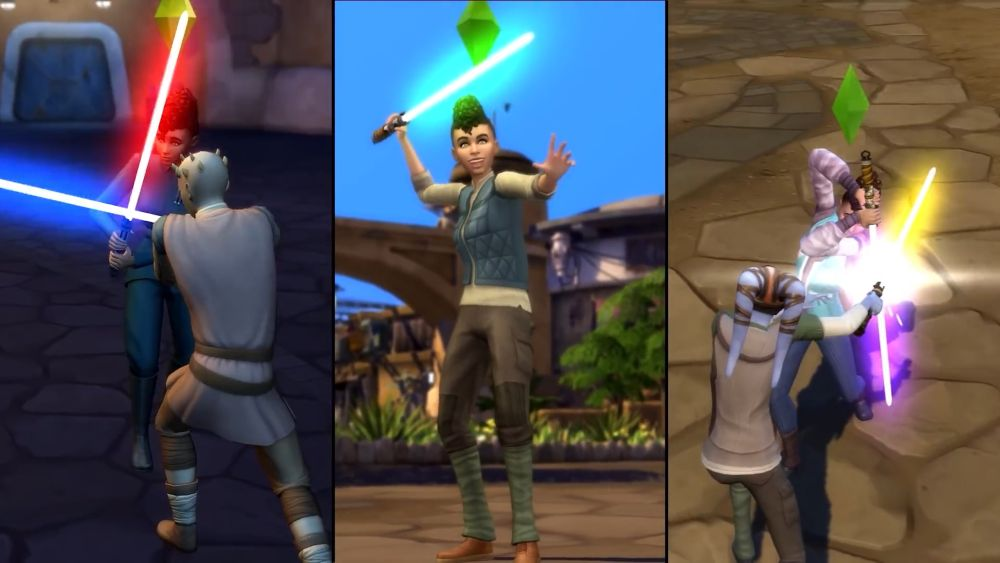 Sims in battle in Sims 4 Star Wars