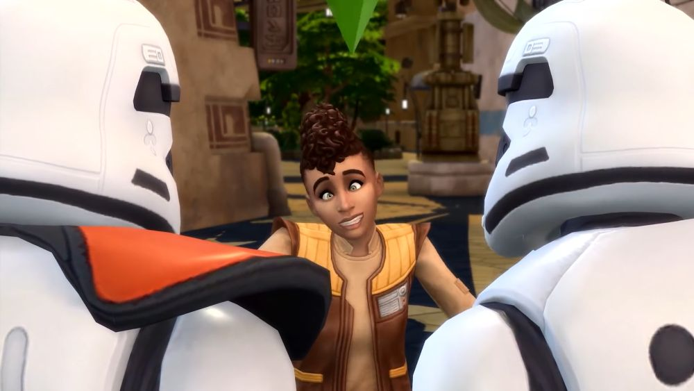 Make a silly face to Stormtroopers in The Sims 4 Journey to Batuu Game Pack