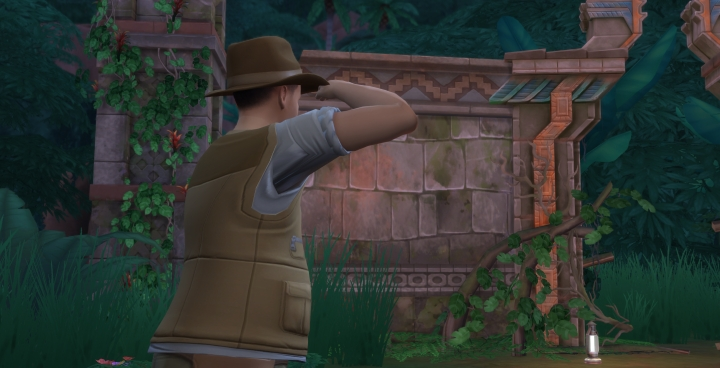 The Sims 4 Jungle Adventure searching for places to dig