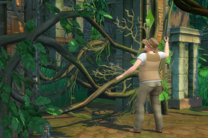 The Sims 4 Jungle Adventure: Clearing a path with a machete