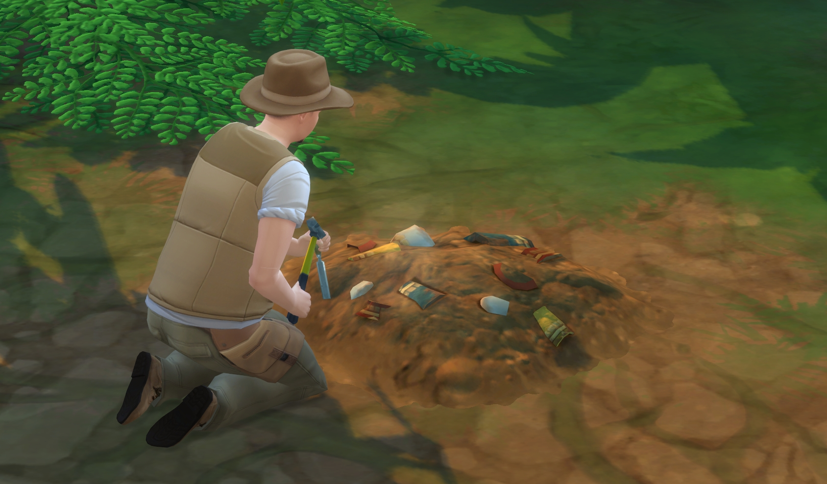 The Sims 4 Jungle Adventure: An excavation site for the Archaeology Skill