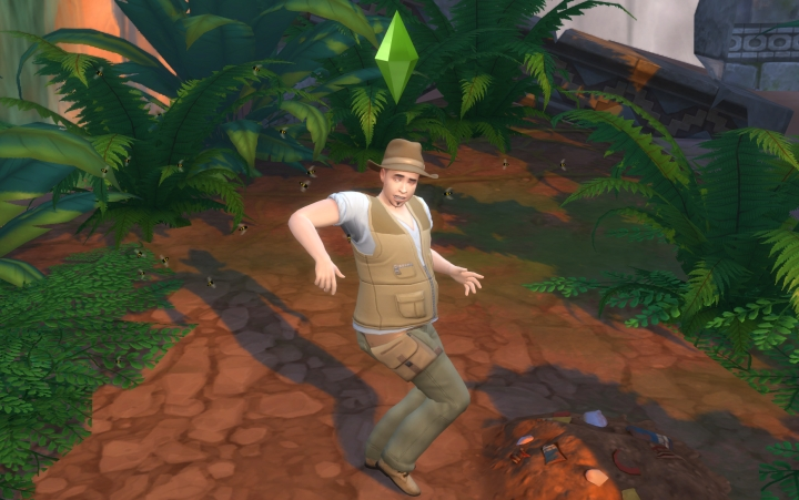 The Sims 4 Jungle Adventure: Insects attacking a Sim. Having bug repellent helps a lot.