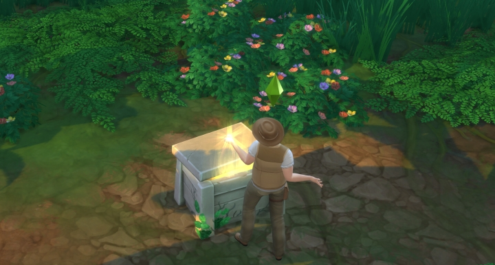 The Sims 4 Jungle Adventure: a treasure chest hidden in the jungle
