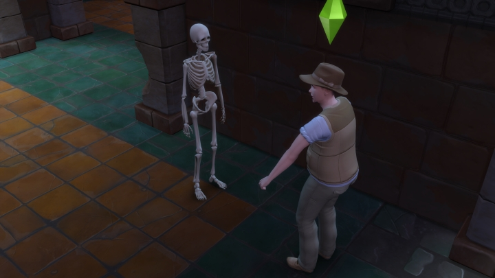 The Sims 4 Jungle Adventure Game Pack: A skeleton in the temple