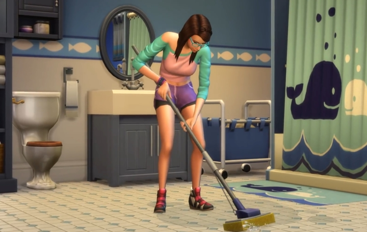 The Sims 4 Parenthood Game Pack: A teen doing chores due to a punishment