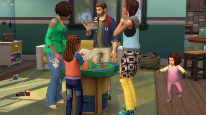 The Sims 4 Parenthood Game Pack: A family works on an art project together