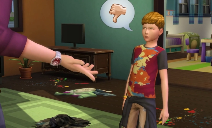 The Sims 4 Parenthood Game Pack: kid does not approve of having to do chores