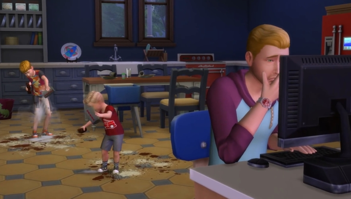 The Sims 4 Parenthood - a father looks up information for raising his kids, which are wrecking the house
