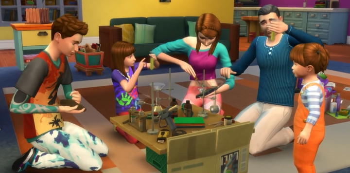 The Sims 4 Parenthood Game Pack: A family works on a science project together