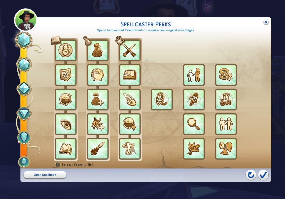 Max Spellcaster rank to get all perks in The Sims 4 Realm of Magic