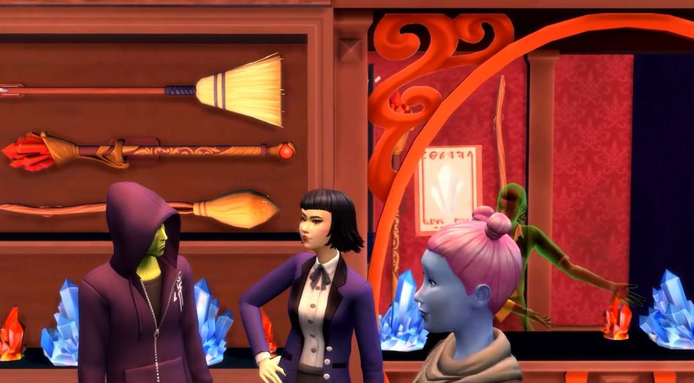 We know that shopkeepers will sell brooms and wands for your Sims, as well as crafting materials.