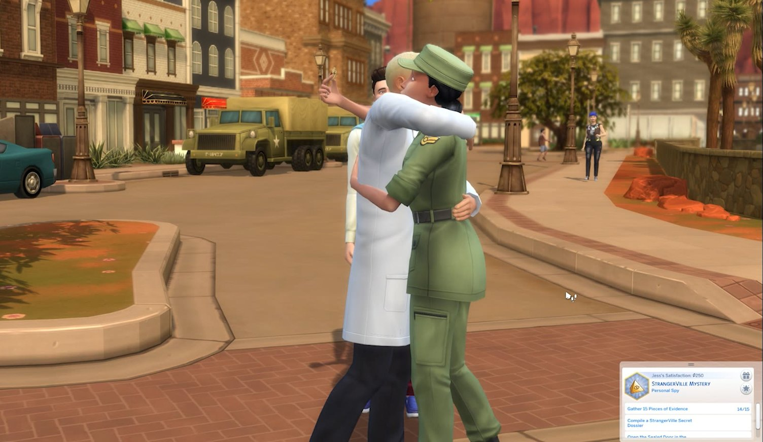 The Sims 4 StrangerVille planting a bug on a scientist or military Sim