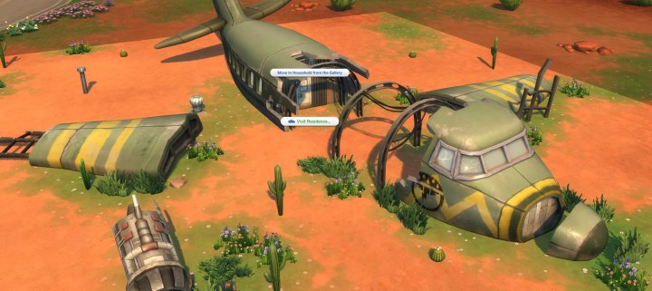 The plane crash in The Sims 4 Strangerville Game Pack