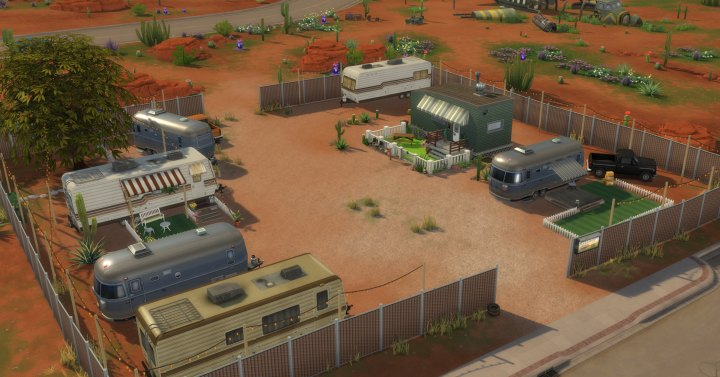 The Sims 4 fake trailer park in the Strangerville Game Pack