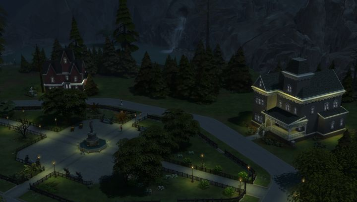 The town square in the Sims 4 world of Forgotten Hollow