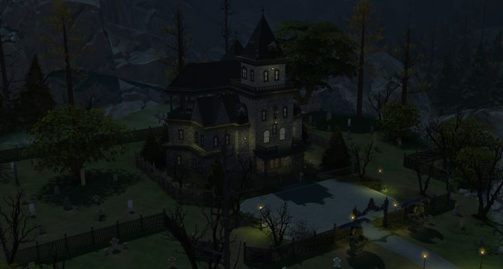 The Straud mansion in the sims 4 forgotten hollow included in the vampires game pack