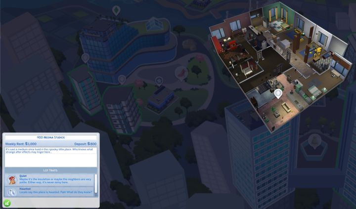 The Sims 4 Lot Traits apply to apartments and houses