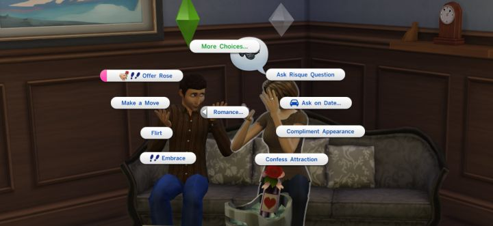 The Sims 4: Romance interactions depend on several factors