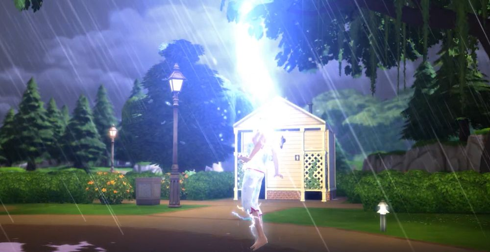 Getting hypercharged by Lightning in The Sims 4 Seasons